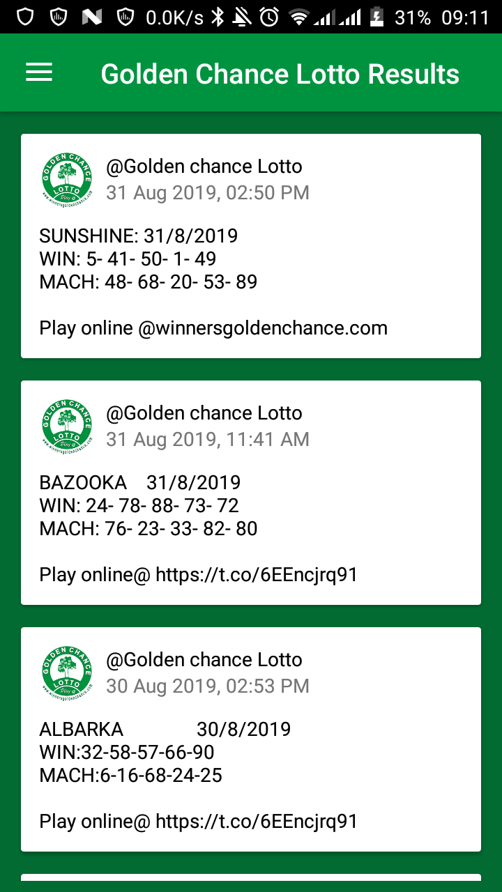 Download Golden Chance Lotto App - Check lotto Results